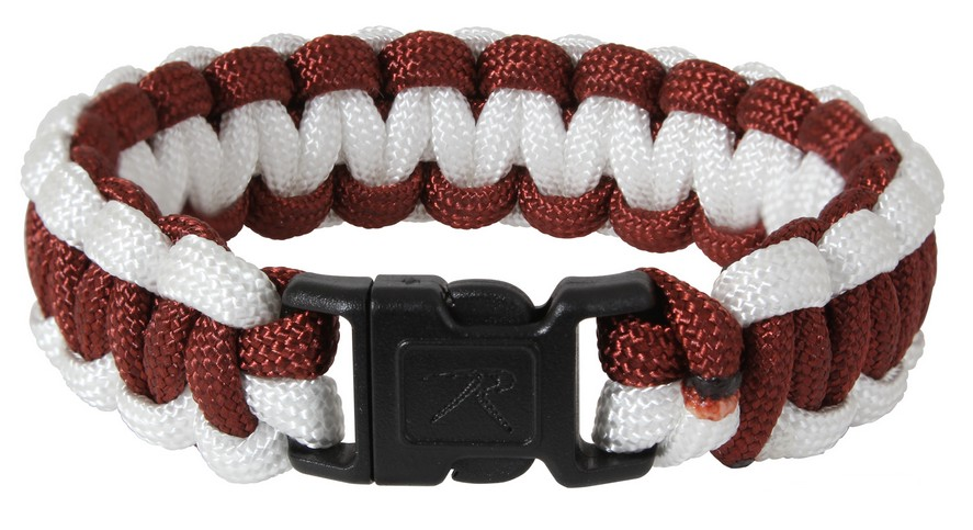Bracelet Paracord SURVIVAL MAROON/WHITE